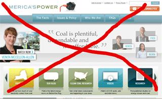 Computer screen shot of a coal propaganda web site.