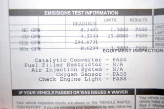 Picture of a piece of paper for an emissions test