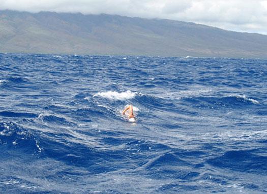 Swimmer in ocean.