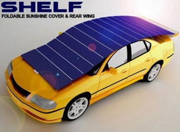 Car with a solar 'shelf' shield on it