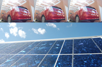 car and solar panels