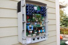 The inside of the SMA Sunny Boy 6000 Solar Inverter, mounted on the east side of our house.