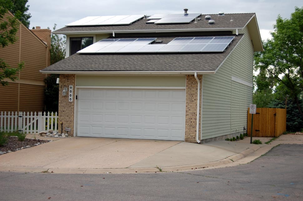 Our sleek, futuristic 26-panel, 5.59 kW system will pump out 8,000 kWh of electricity per year, enough to power our home and an electric car!