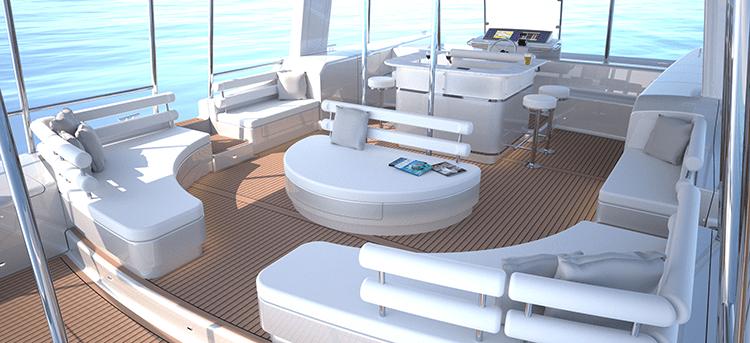 The lounge deck of the Soelcat 12 solar pontoon boat. [Photo Credit: Soelyacht.Com]