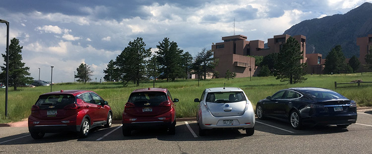 4 electric cars parked next to each other at NCAR in Boulder, Colo.