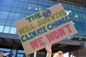 This was one of best signs, I think. It's NOT 'Save the Planet' -- the planet is INDIFFERENT to future of humanity. What is at stake is humanity's (lack of) future.