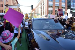The number of protestors temporarily forced traffic stoppages near Denver's Union Station.