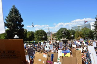 Protestors assemble in front of the Colorado Capitol.