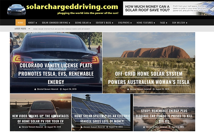 The front page of SolarChargedDriving.Com