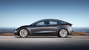 A Tesla Model 3 in motion
