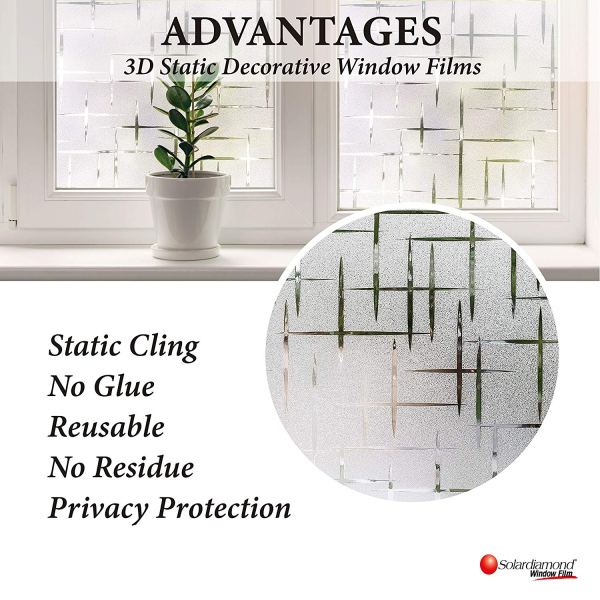 Solardiamond 3D Static Decorative Windows Films - Cross