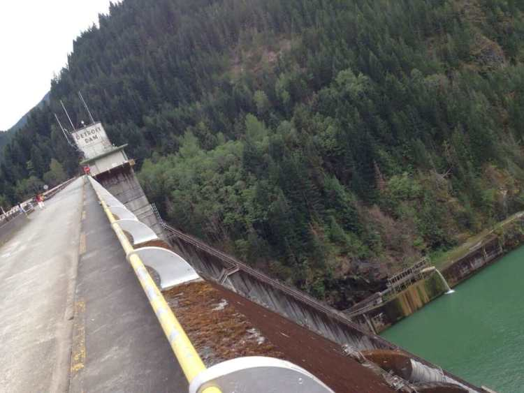 On Top of Detroit Dam in Oregon