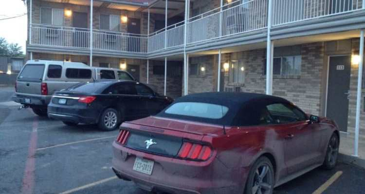 The Mustang in front of my room