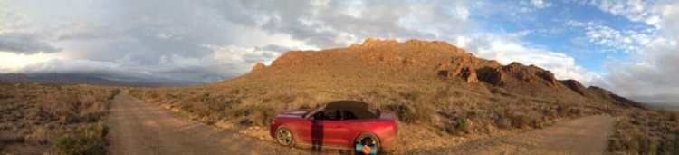 The Mustang in the sunset