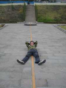 Lying on the equator