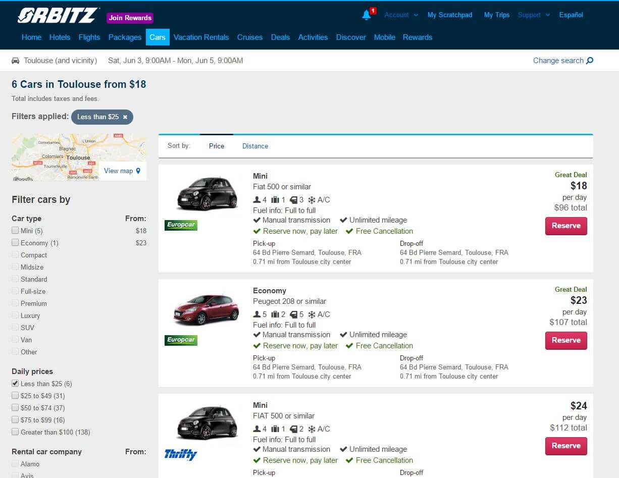 hidden orbitz car rental fees