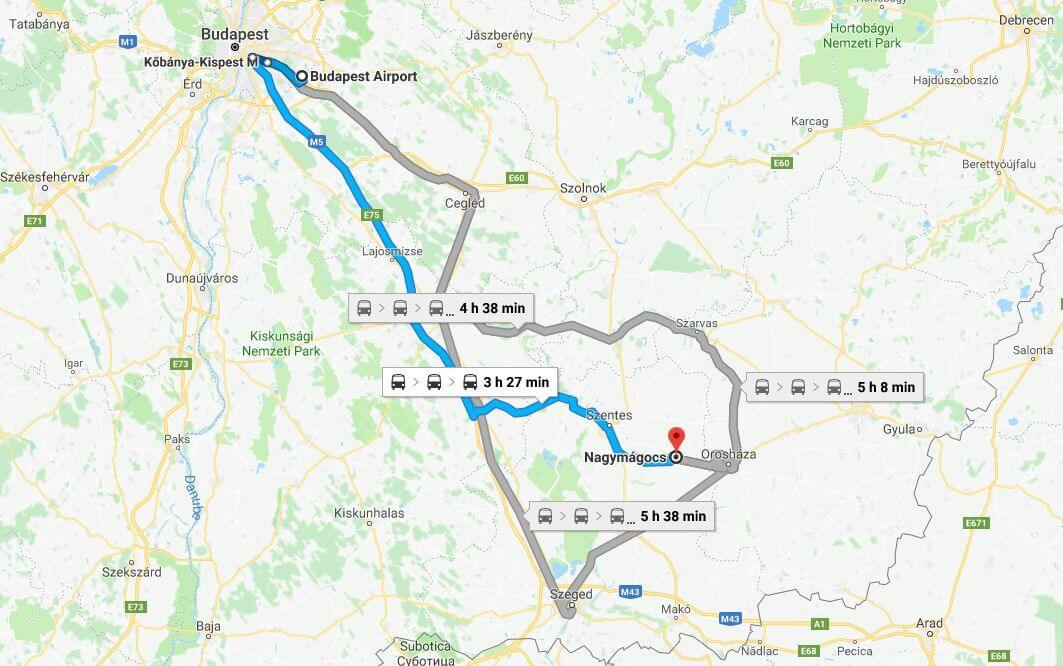 Public Transport to Nagymágocs, Hungary