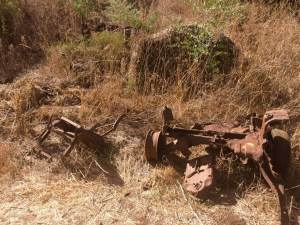 An abandoned truck axle in Israel's Golan Heights