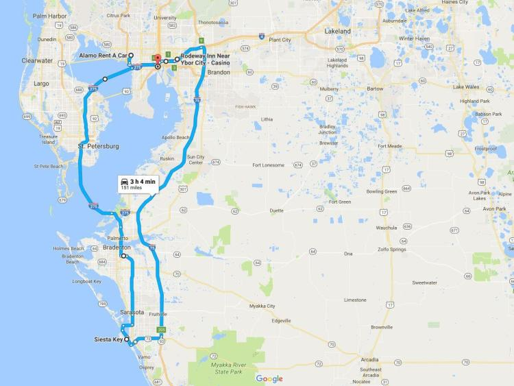 Tampa Weekend Trip Driving Directions