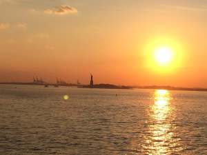Statute of Liberty in Sunset