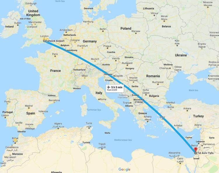London to Tel Aviv Flight Path