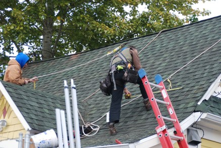 Solar Installer working on roof