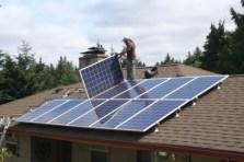 Installation of solar panels on roof
