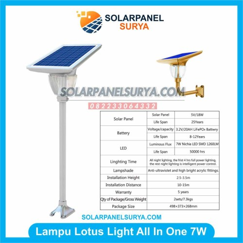 Lampu Taman Tenaga Surya Lotus Light 7W