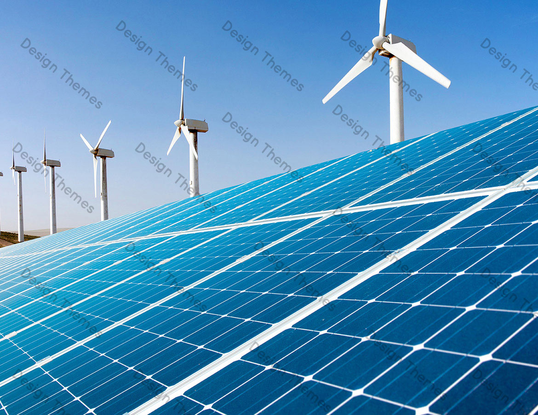 Paneles solares con Molinos de viento
