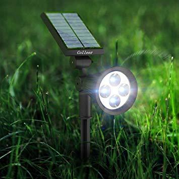 High-Output Garden Spot Light with Attached Solar Panel - Cool White