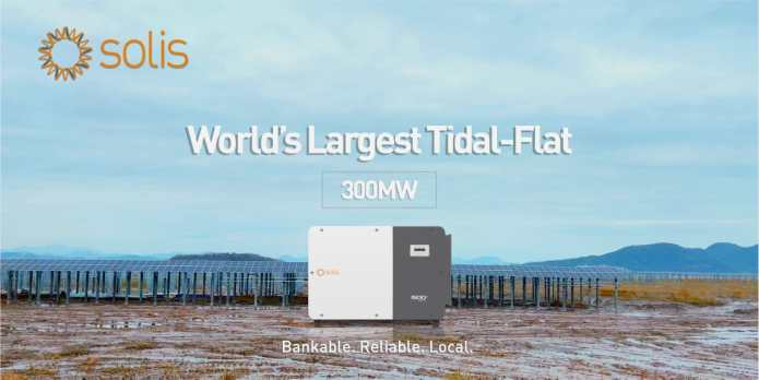 Solis Supplies (215-255)kW String Inverters for World's Largest Tidal-Flat 300MW Utility Solar PV Plant