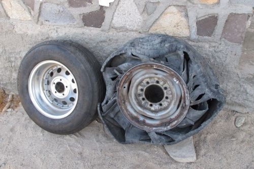 Tire destroyed on way to BLA.