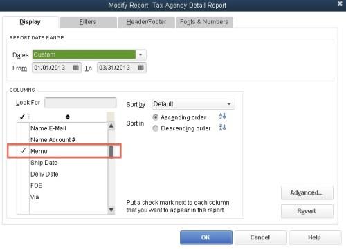 QuickBooks Modify Report