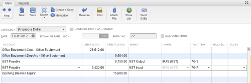 QuickBooks General Journal