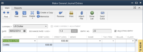 QuickBooks - Foreign currency journal