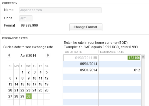 QuickBooks - JPY exchange rate
