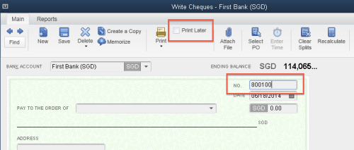 QuickBooks - Cheque Number