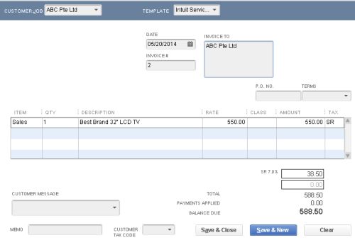 QuickBooks - Sales Invoice