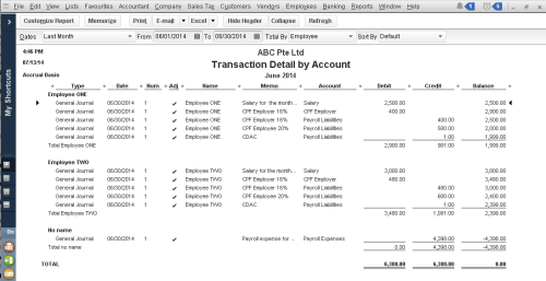 QuickBooks - Report