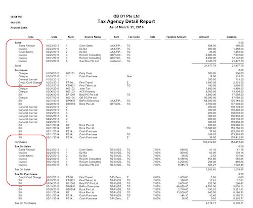 QuickBooks Tax Detail (GST) report