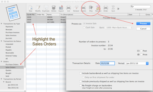 multiple sales orders to invoices