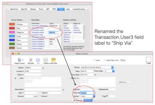 MoneyWorks transaction user field