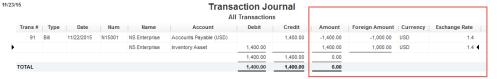 QuickBooks transaaction journal