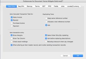 Document Preferences - Alter item code
