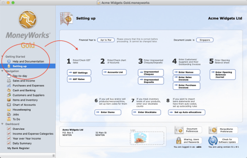 MoneyWorks navigator