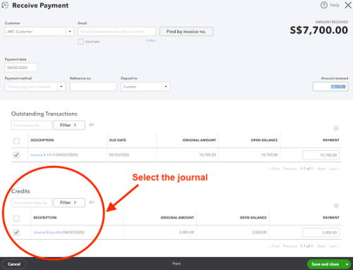 Receive payment in QuickBooks Online (QBO)