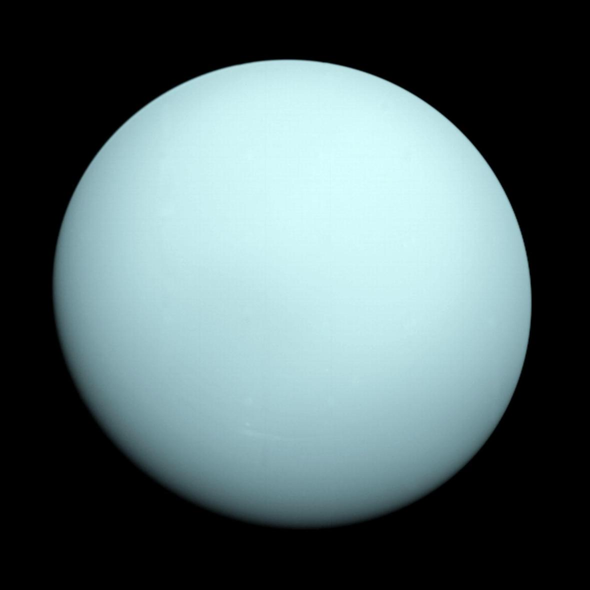 This is an image of the planet Uranus taken by the spacecraft Voyager 2 on January 14th 1986 from a distance of approximately 7.8 milllion miles ( 12.7 million km ).