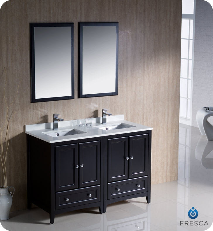 fresca fvn20 2424es oxford 48 traditional double sink bathroom vanity in espresso faucets mosaic kitchen supplies bathroom supplies and much