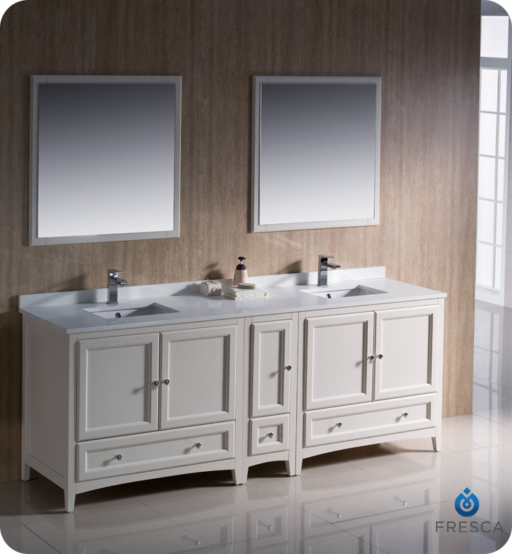 fresca fvn20 361236aw oxford 84 traditional double sink bathroom vanity with side cabinet in antique white faucets mosaic kitchen supplies