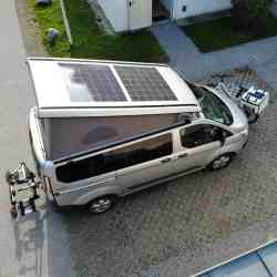 Ford Nugget lifting roof photovoltaic system Solbian solar